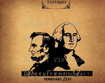 President's Day Washington Lincoln Illustration Vintage Digital Image Graphic Download Printable Graphic Clip Art Prints 300dpi SVG PNG jpg
