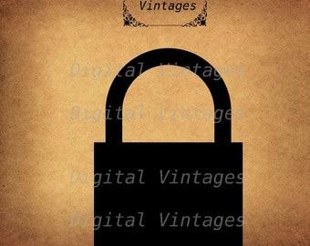 Lock Locked Padlock  Silhouette Icon illustration Vintage Digital Image Download Printable Clip Art Prints HQ 300dpi svg jpg png