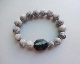Gray frosted Landscape Jasper Swarovski crystal gemstone stretch bracelet - gray black gemstone jewelry