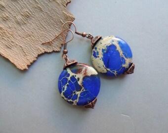 Blue Sea Sediment Jasper dangle earrings - blue gemstone earrings - blue jewelry