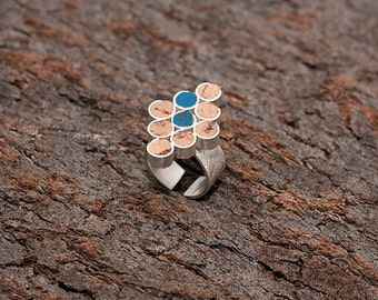 "Silver and Cork Ring ""Indention"" - Handmade Jewelry - FREE SHIPPING"