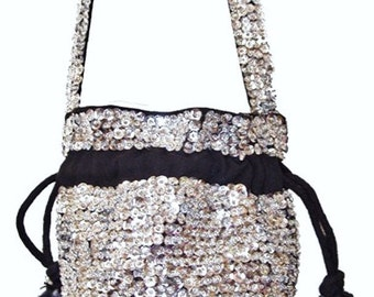 Sequin Beaded Drawstring Evening Purse Bag SILVER