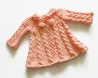 Knitted baby girl coat, Baby girl sweater, Matinee coat, Baby jacket, baby girl coat, Peach baby girl sweater, Made to order