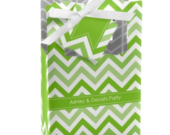 12 Chevron Green Favor Boxes - Custom Baby Shower, Birthday Party, or Bridal Shower Supplies