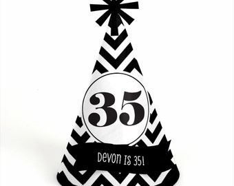 8 Chevron Black and White Birthday Party Hats - Personalized Birthday Party Supplies - Set of 8