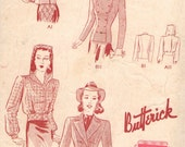 Vintage 1930s Butterick Sewing Pattern 8839 - Misses' Tailored Jacket, Hooded Jacket size 12 bust 30