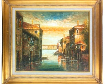 20 X 24 Oil Painting of Venice Italy with Water, Boat, People, and Buildings Gold or Copper Frame