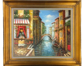 24 X 20 Framed Oil Painting of Impressionist Romantic Scene in Venice Italy with Gondola, Cafe, , 24 X 20  stretched only or Gold or Copper