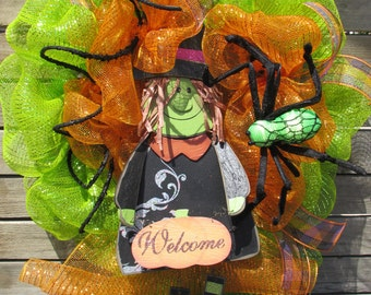 "24"" Witch Wreath Halloween Wreath Halloween Welcome Wreath Halloween Deco Mesh Wreath Welcome Pumpkin Wreath Witch Door Decor"
