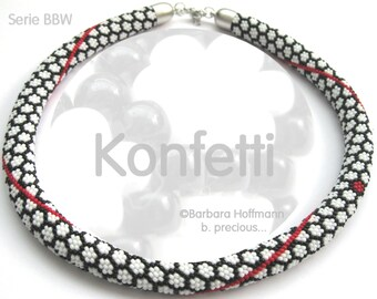 "Pattern for bead crochet necklace ""Konfetti"""