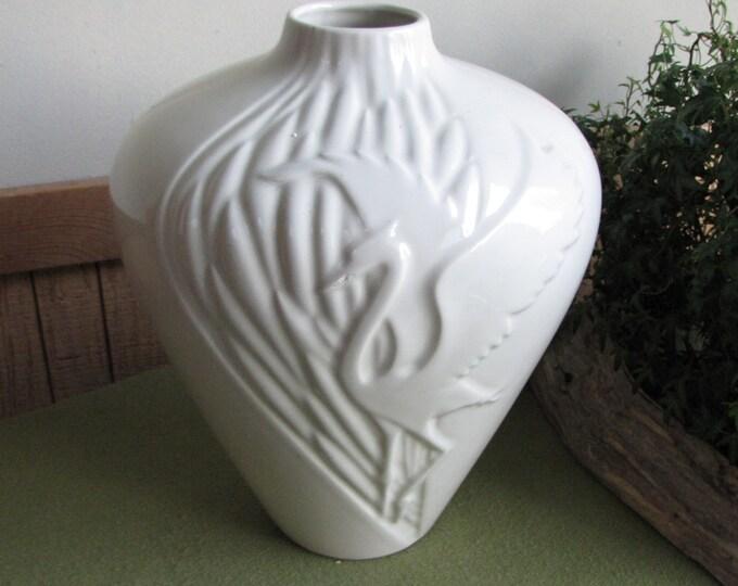 Vintage Haeger Pottery Heron White Vase Art Deco Floor Vase