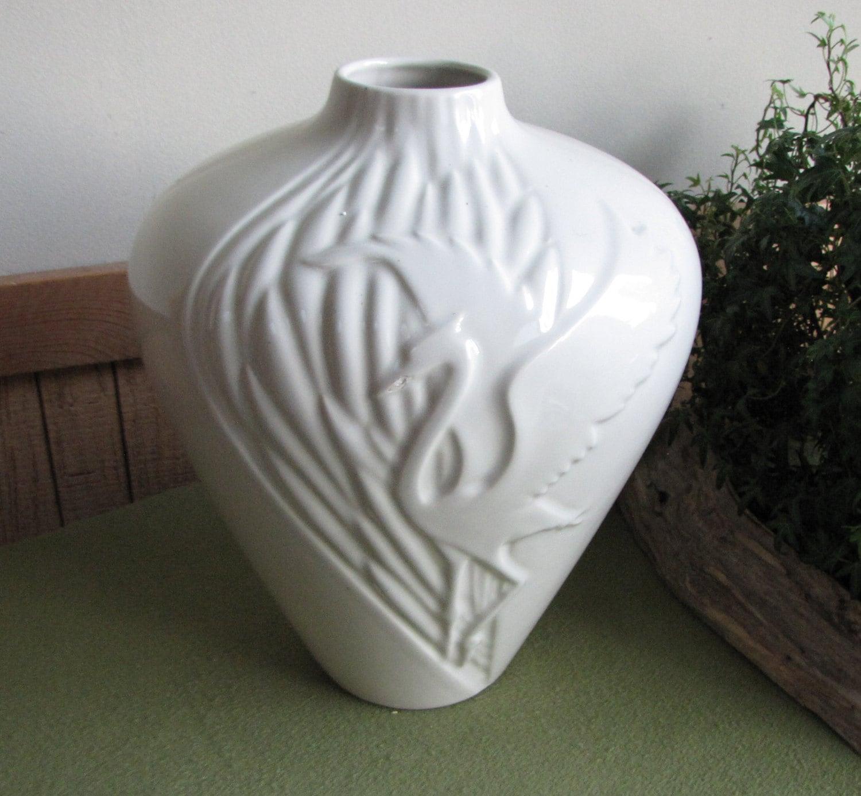 Vintage haeger pottery heron white vase art deco floor vase floridaeventfo Image collections