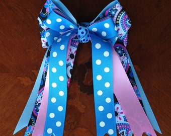Horse Show Hair Bows for girls  - pink, blue, black paisley