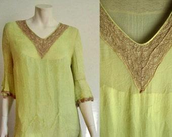 1920s Dress / 20s Flapper Dress / Yellow Silk Dress / Lace Trim / MEDIUM