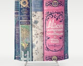A Perfect Library Shower Curtain: Home decor, bathroom, books, Alice in Wonderland, fairy tales, girl's, girls, Jane Austen,