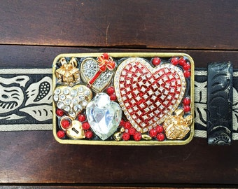 Sparkling Hearts Belt Buckle