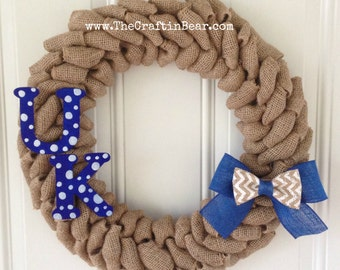 University of Kentucky burlap wreath w/ Chevron bow and UK letters