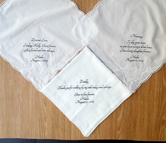 Wedding Gifts For Parents Handkerchief : Personalized 3 Wedding Handkerchiefs for Parents of The Bride and ...