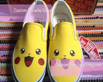 Flash Sale** Pokemon - Pikachu Hand Painted Illustrated Character Custom Vans Shoes