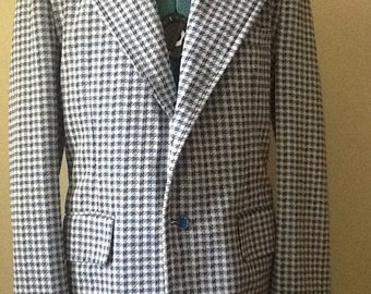 70's Polyester,Size 38,Polyester Houndstooth,Sport Jacket,Wide Lapel