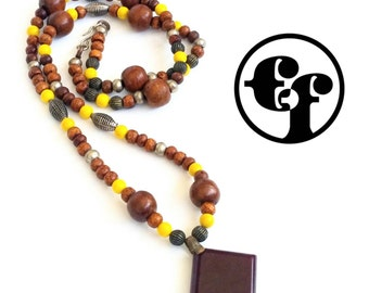 Handmade Yellow Wood and Glass Bead Necklace