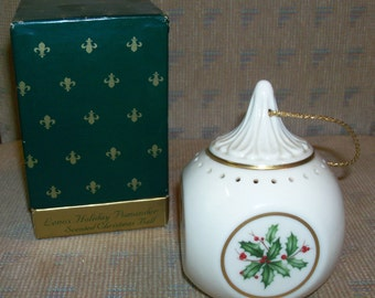 Vintage Lenox Holiday Fine China Dimension Shape Gold Holiday Pomander Scented Christmas Ball  in Original Box - Holly and Berries Design