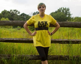 Ask Me Yellow and Black Upcycled OOAK T-Shirt Dress with or with Ribbon