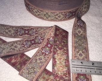 Metallic Floral Jacquard.Vintage Woven Jacquard Ribbon, Floral Ribbon. Sold by the Yard.Metallic Brocade, Metallic Trim, Floral Ribbon.