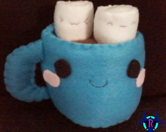Kawaii Plushie Coffee Cup with Marshmallows (you choose color)