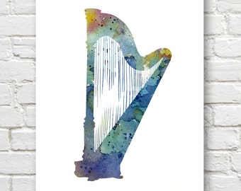 Blue Harp Art Print - Abstract Watercolor Painting - Music Wall Decor