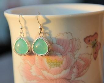 Sea Foam Green Silver Drop Earrings