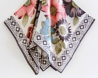Floral Scarf by Echo with Geometric Pattern, Vintage Square Boho Scarves with Flowers