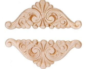Fan Wing Ding Wood Appliques-Decorative Wood-Wood Crafts-2 pcs