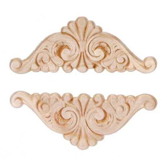 Fan Wing Ding Wood Appliques Decorative Wood Wood Crafts 2 Pcs
