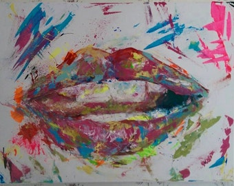 Handmade Custom Abstract Lip Painting Acrylic ready to Hang Wall Art Home Decor 16X20