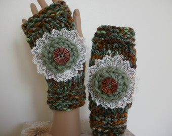 Fingerless gloves, green and brown gloves, fingerless mittens, hand warmers, wrist warmers, crochet flower with lace, matches a shawl, folk.
