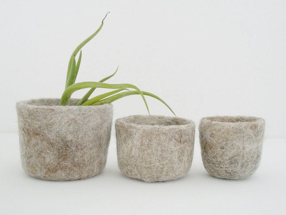 Plant Nesting Bowls are made of Llama Fur