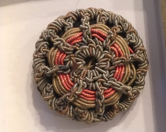 Vintage Wound and Crocheted Fabric Button; 1 7/16""