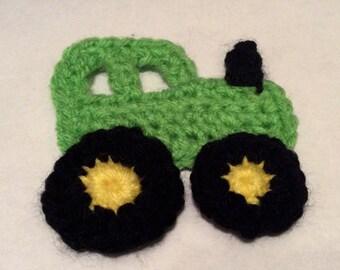 Crochet Tractor Applique, Green Tractor Applique, Handmade Tractor Applique, Crochet Tractor, Tractor