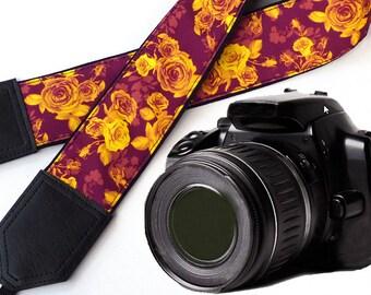 Damask Roses Camera strap.  Golden Flowers camera strap.  Burgundy DSLR / SLR Camera Strap. Camera accessories by InTePro