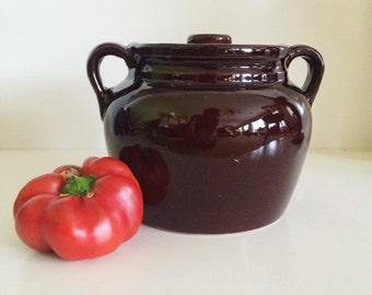 Vintage USA Brown Ceramic Bean Pot