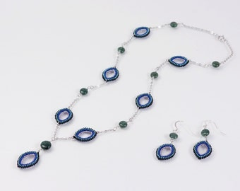 Aventurine necklace and earring set, bohemian necklace, aventrine earrings, marquise jewelry, 389