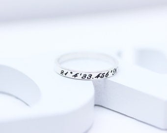 personalized coordinates 925 sterling silver band ring, initial ring, engraving ring, name ring, wedding gift, holiday gift (WPR_00010)