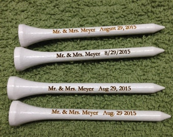 Set of 100 Personalized Golf Tees - Laser Engraved - 2.75 inch - Custom Golf Tees