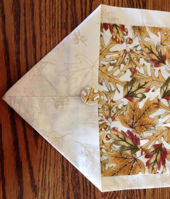 Fall Table Runner In Leaf Pattern Goldbrown By
