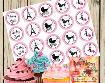Printable Paris Baby Shower Cupcake Toppers