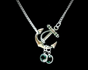 Anchor Personalized Birthstone Mother Wife Grandma Necklace