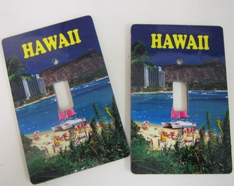 2 light switch covers, Hawaii Waikiki beach design