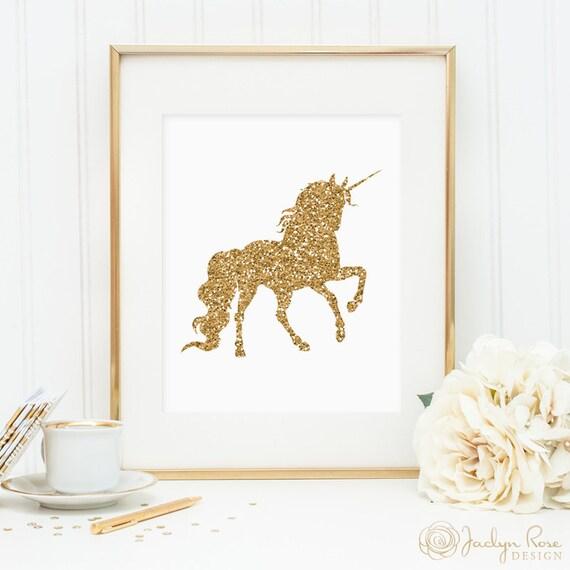 Unicorn print printable wall art decor gold glitter unicorn