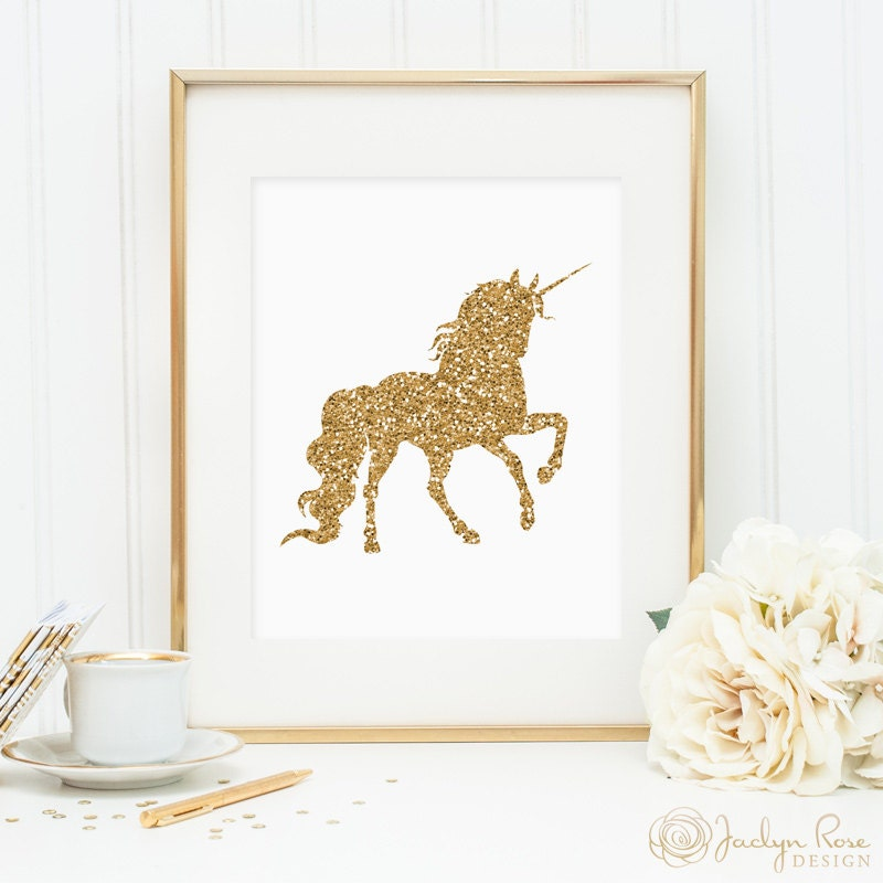 Unicorn print printable wall art decor gold glitter unicorn for Gold wall art